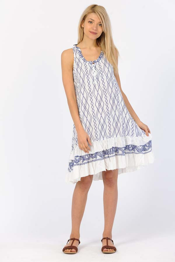 Ruffle Print Sleeveless short dress - White-Blue Zik Zak