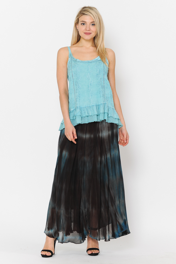 100% Rayon Ombray Skirt - Brown/Blue