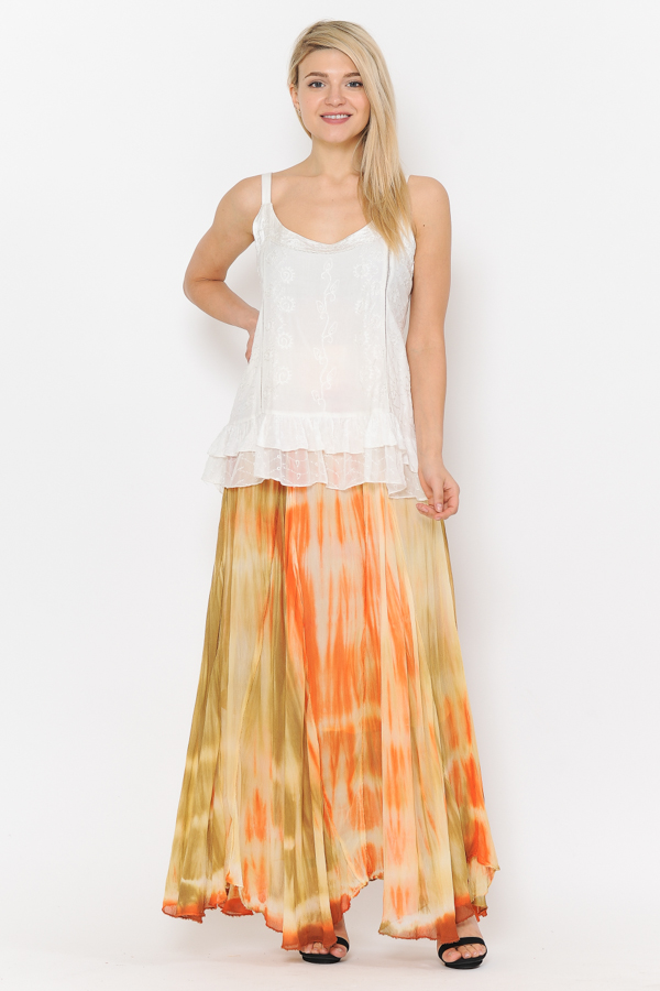 100% Rayon Ombray Skirt - Orange