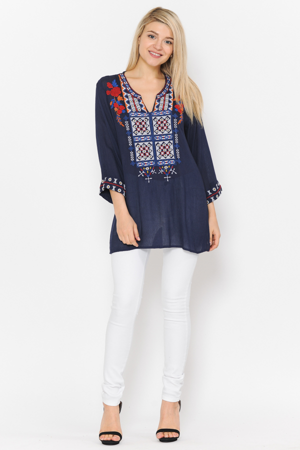 3/4 Sleeves Multi Embroidery Tunic Top - Navy