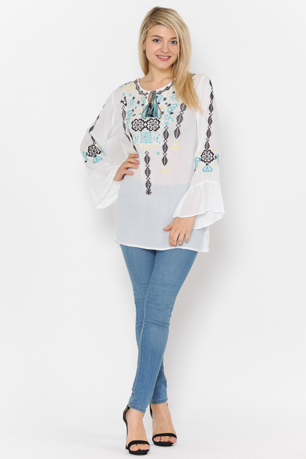 Bell Sleeves Embroidery Tunic Top - White