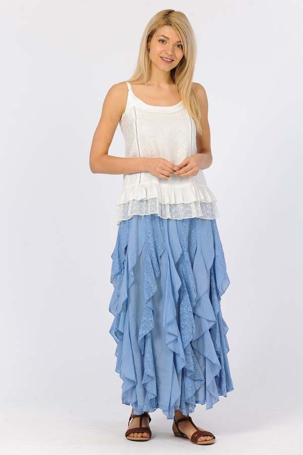 Lace Ruffle Skirt - Blue