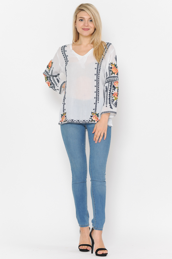 3/4 Sleeves Multi Embroidery Tunic Top - White