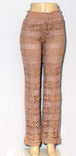 Full Lace Fitted Pants - Sand