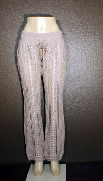Lace Embroidery Pants - Sand