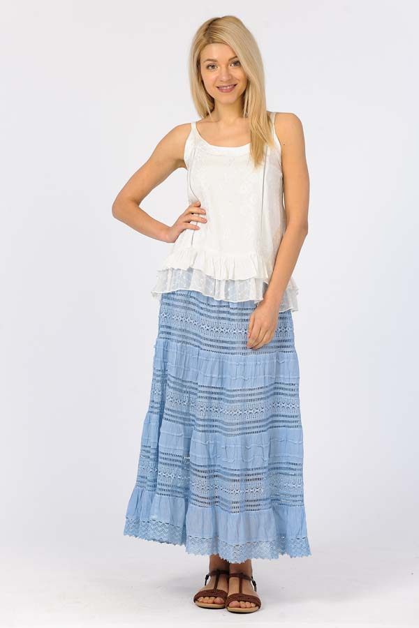 Cotton Long Lace Skirt - Blue