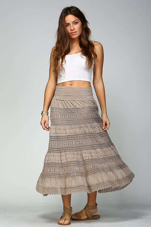 100% Cotton Long Lace Skirt - Sand