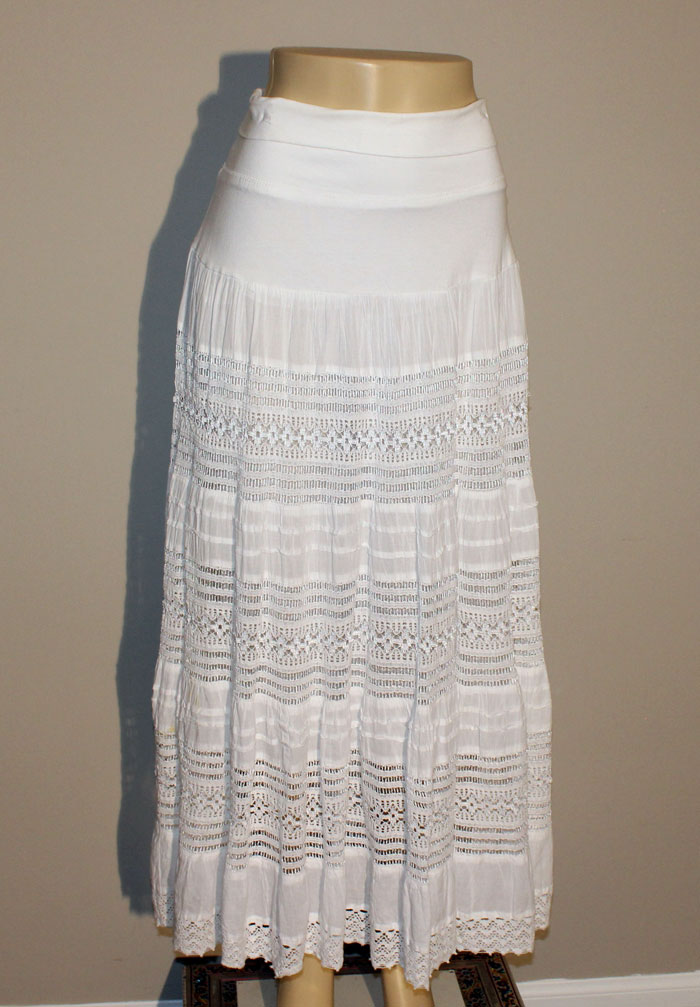 100% Cotton Long Lace Skirt - White