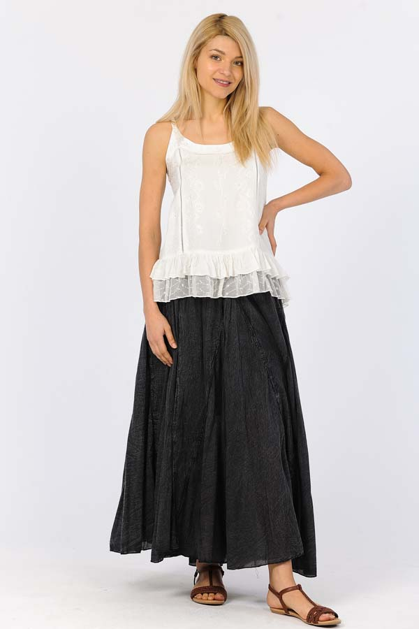 100% Cotton Sandwash Skirt - Black