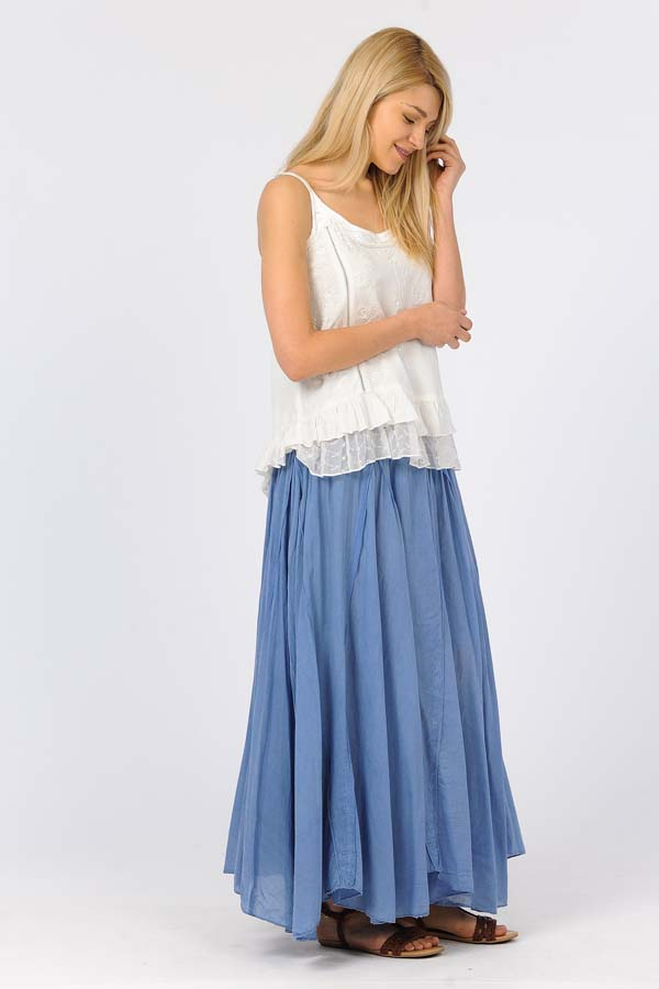 100% Cotton Sandwash Skirt - Blue