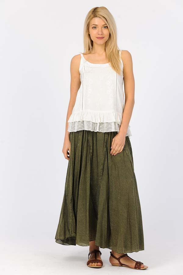 100% Cotton Sandwash Skirt - Olive