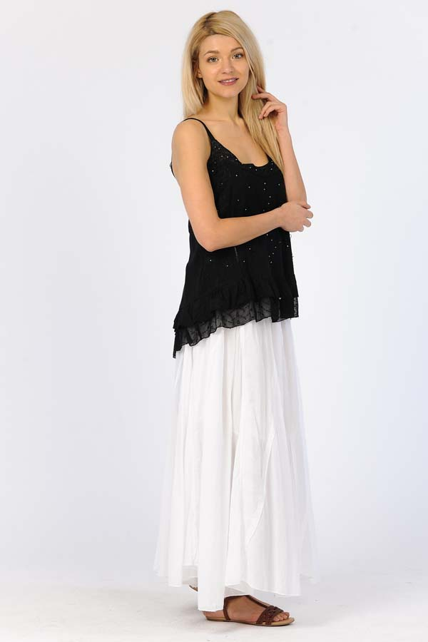 100% Cotton Sandwash Skirt - White