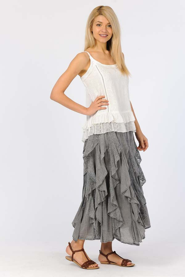Lace Ruffle Skirt - Charcoal / Gray