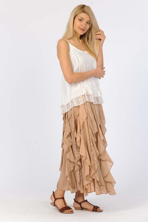 Lace Ruffle Skirt - Sand