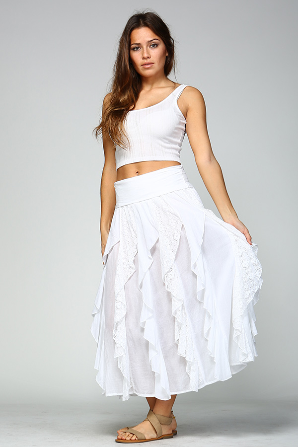 Ruffle Skirt - White