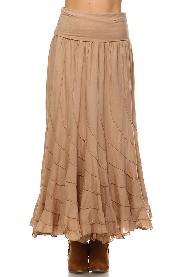 100% Cotton Circle Skirt - Sand