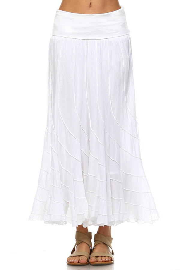 100% Cotton Circle Skirt - White