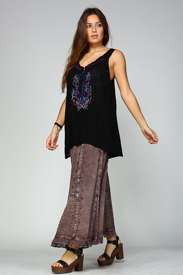 Stone Wash Skirt - Mauve