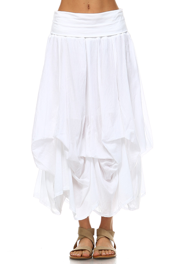 100% Cotton Bubble Skirt - White