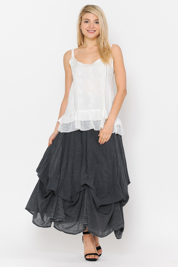 100% Cotton Bubble Skirt - Sandwash Black