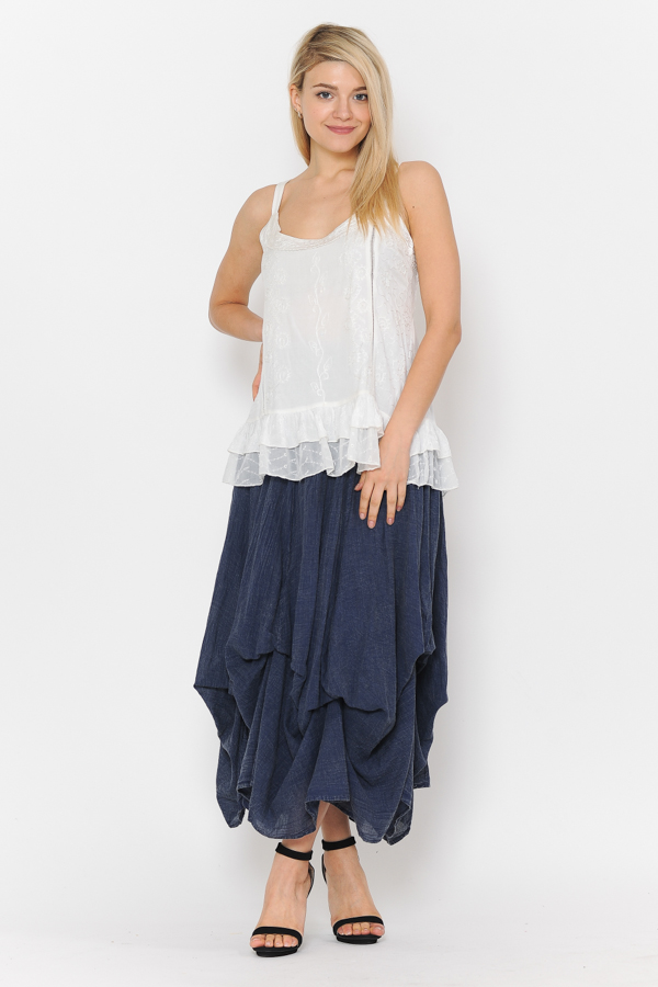 100% Cotton Bubble Skirt - Sandwash Navy