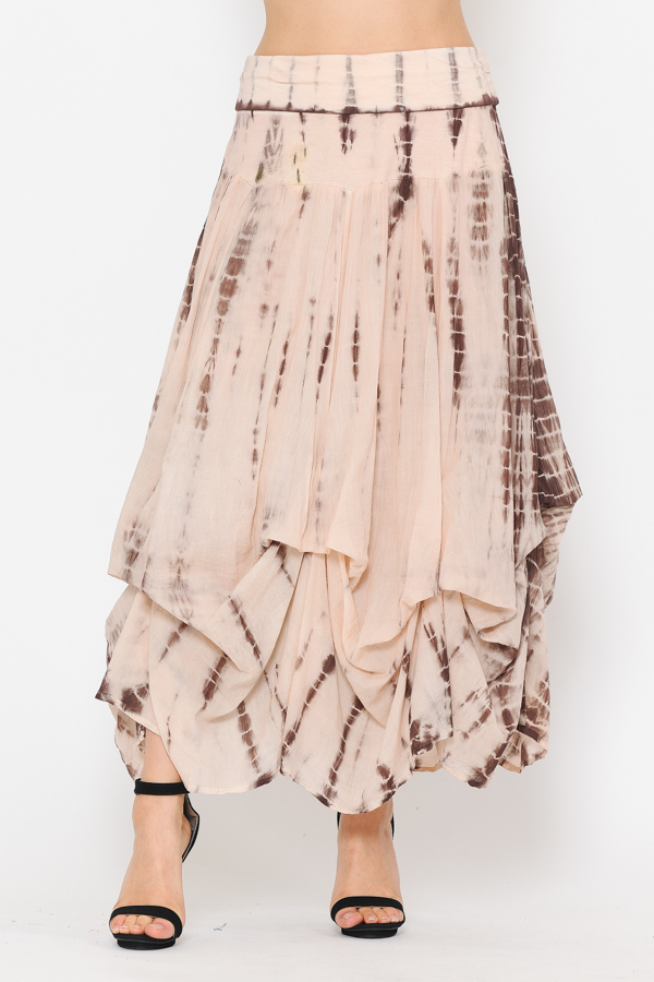100% Cotton Bubble Skirt - Tie Dye Pink Brown