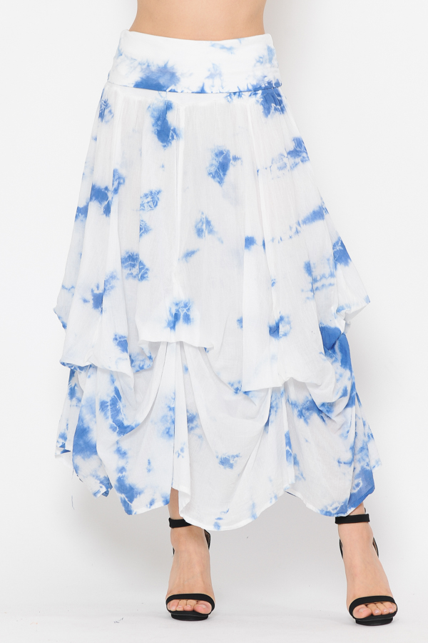 100% Cotton Bubble Skirt - Tie Dye White Blue