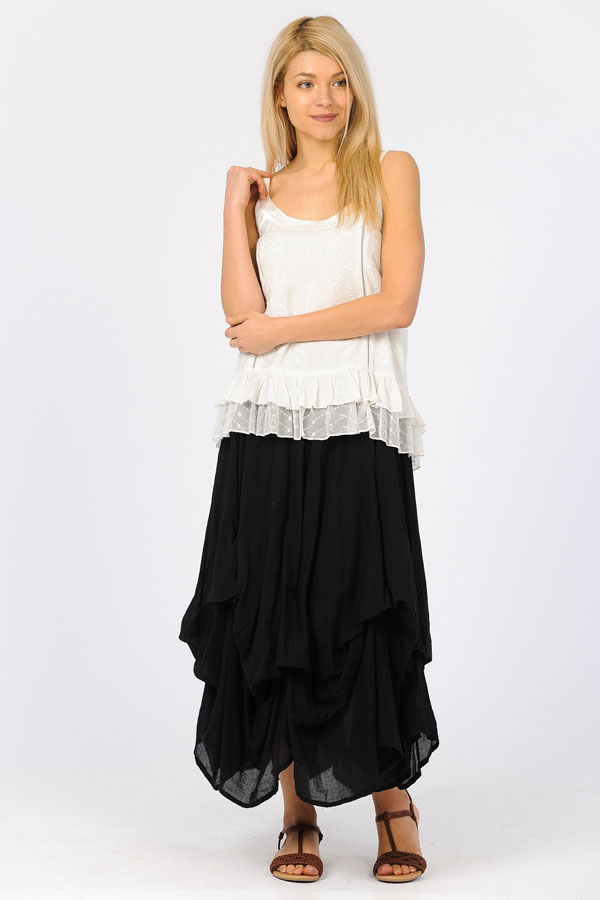 100% Cotton Bubble Skirt - Black