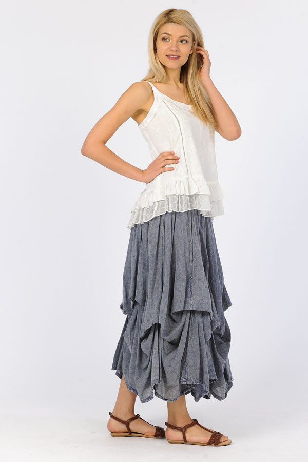 100% Cotton Bubble Skirt - Sandwash Blue