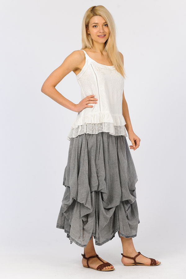 100% Cotton Bubble Skirt - Charcoal/Grey