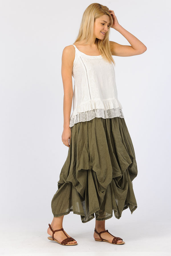 100% Cotton Bubble Skirt - Sandwash Olive