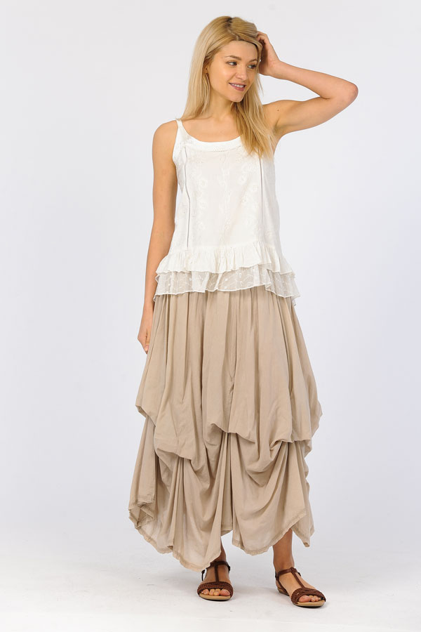 100% Cotton Bubble Skirt - Sandwash Sand