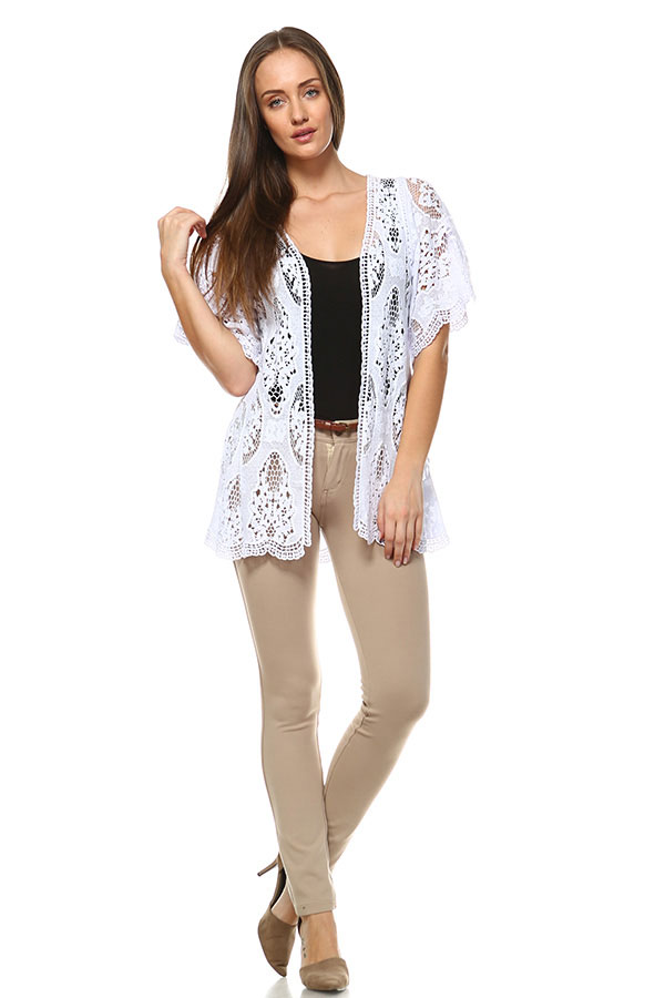 Cotton Front Open Lace Cardigan - White