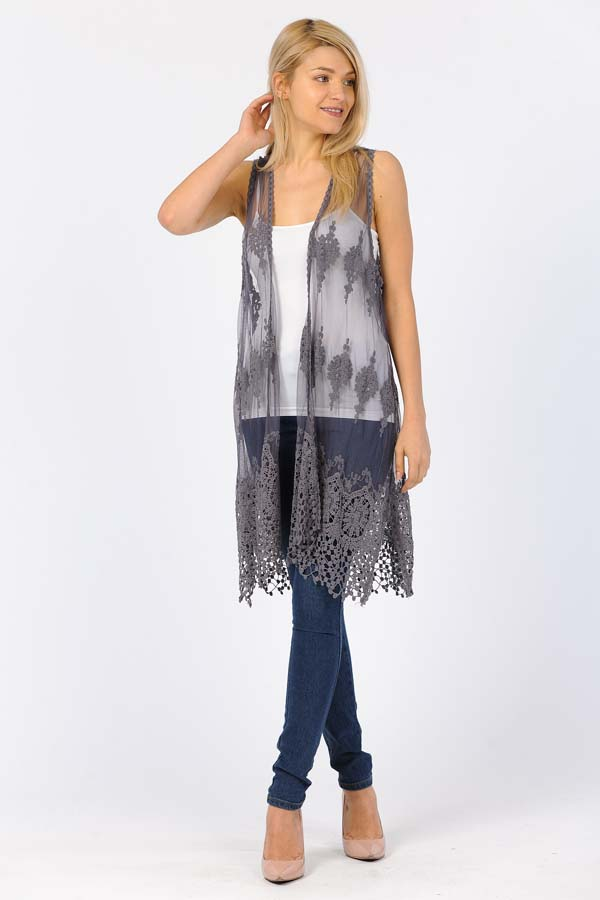 Front Open Lace Duster/Charcoal/Grey with Charcoal/Grey Crochet Work