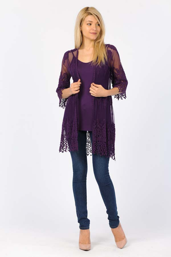 Front Open Lace Duster-Purple/With Purple Crochet Work