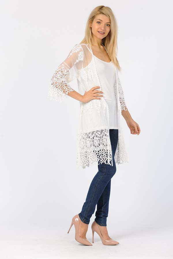 Front Open Lace Duster-White/With White Crochet Work