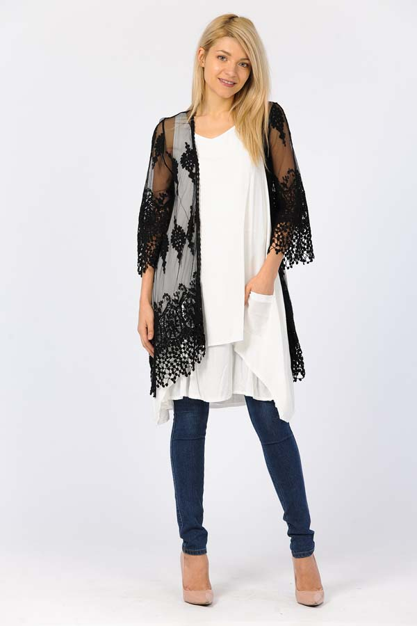 Front Open Lace Duster-Black/With Black Crochet Work