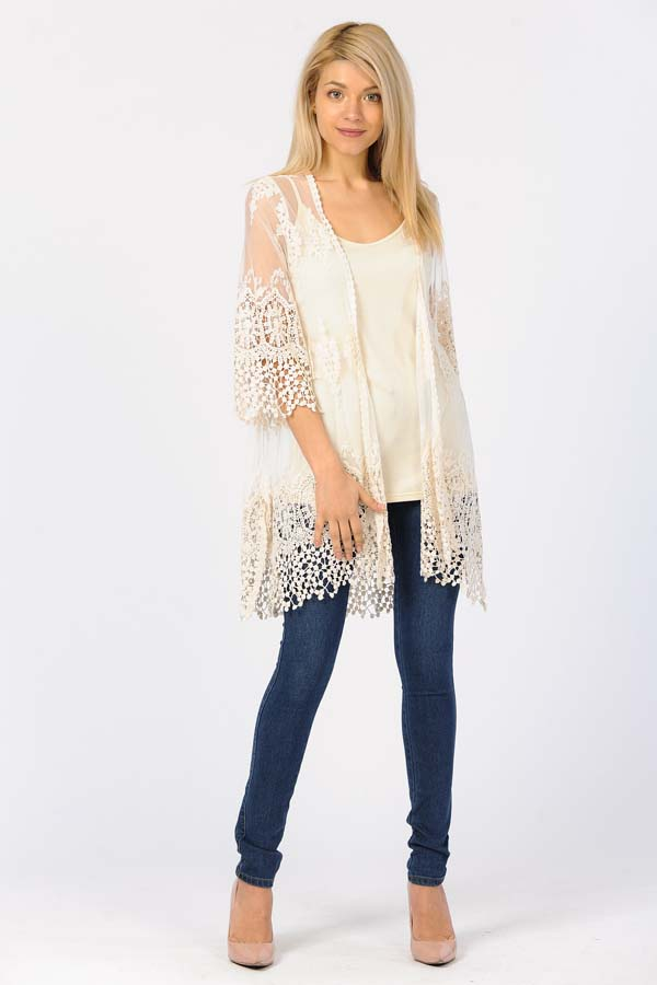 Front Open Lace Duster-Natural/With Natural Crochet Work