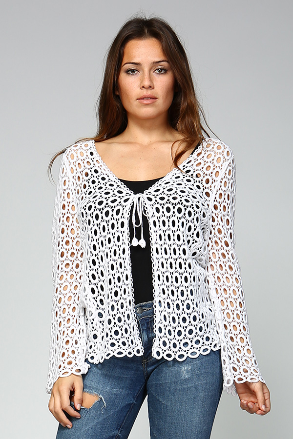 100% Cotton Front Open Crochet Cardigan - White