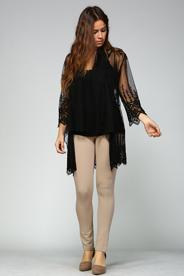 100% Cotton Front Open Lace Cardigan - Black