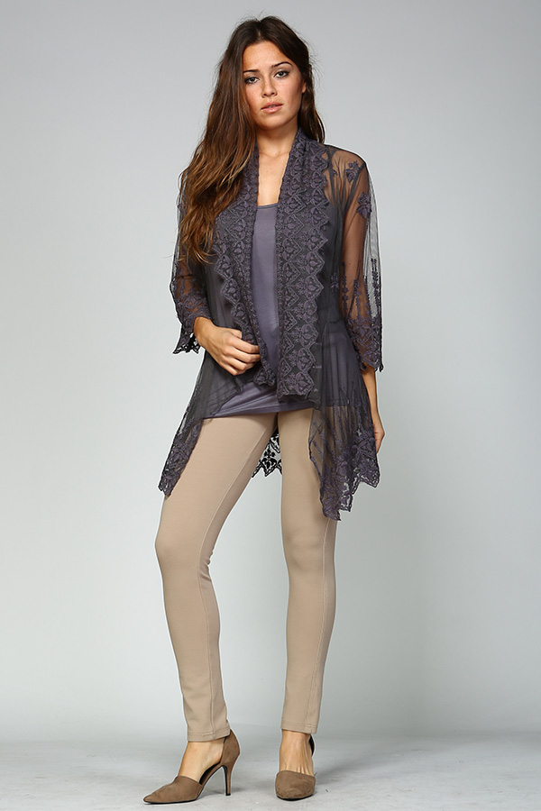 100% Cotton Front Open Lace Cardigan - Charcoal/Grey