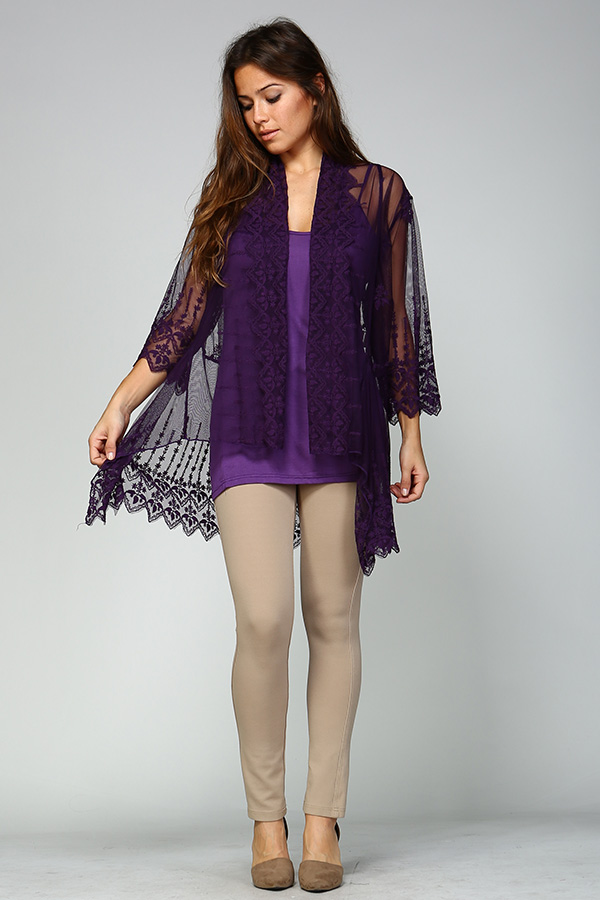 100% Cotton Front Open Lace Cardigan - Eggplant