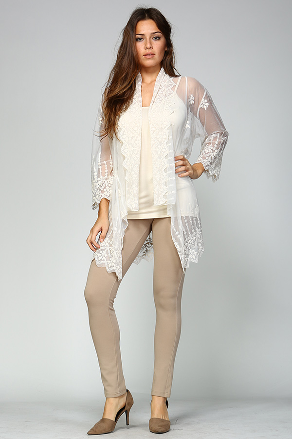 100% Cotton Front Open Lace Cardigan - Natural