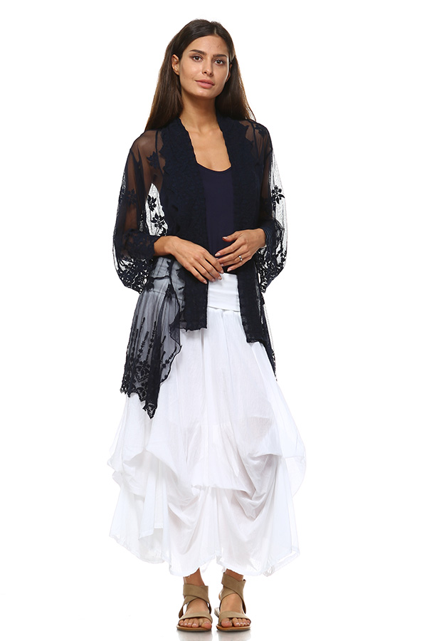 100% Cotton Front Open Lace Cardigan - Navy