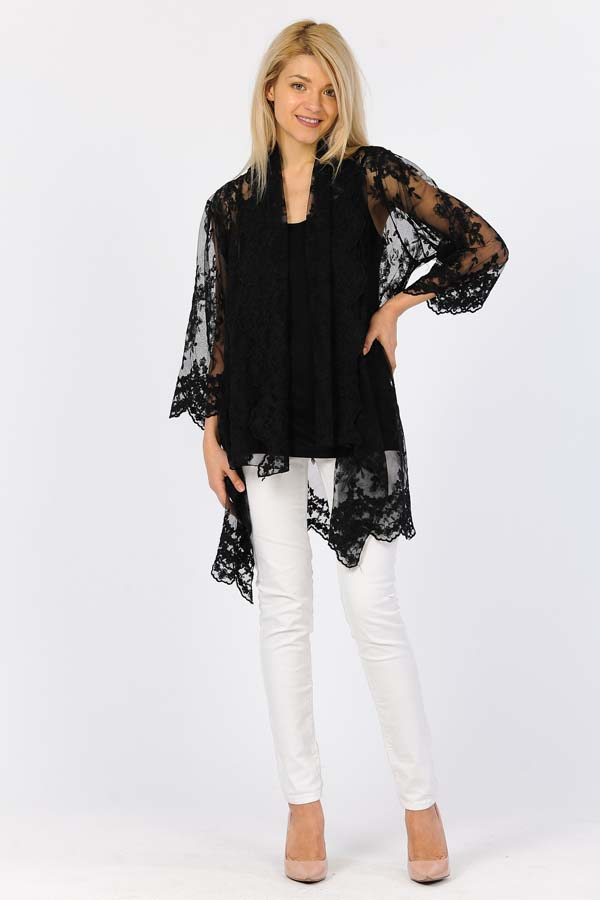 Embroidery Net Cardigan with Cami-Black