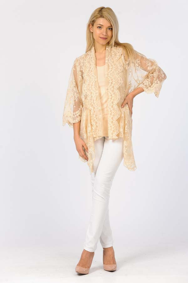 Embroidery Net Cardigan with Cami-Natural