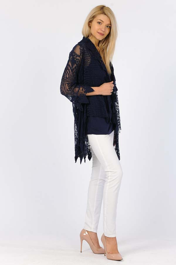 60% Cotton 40% Poly Front Open Lace Cardigan -Navy