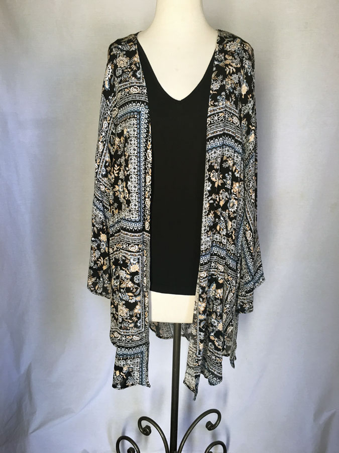 100% Rayon Cardigan - Black/Blue Print