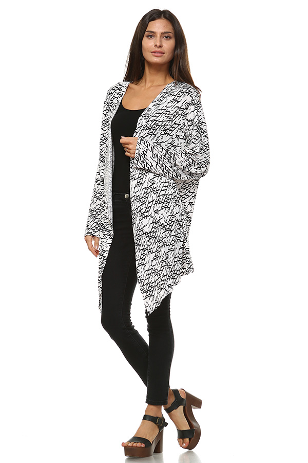 Long Sleeve Front Open Printed Cardigan