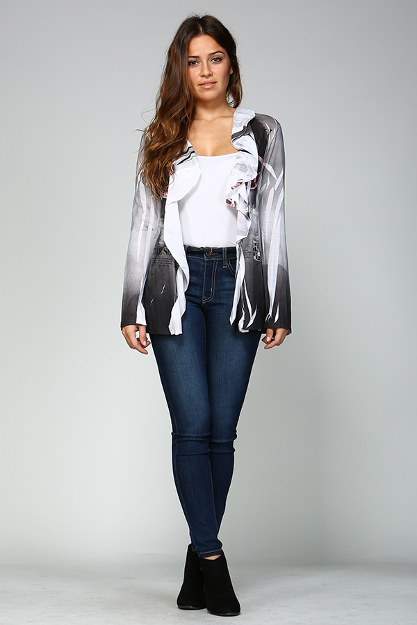 Long Sleeve Front Open Print Cardigan - Black/White